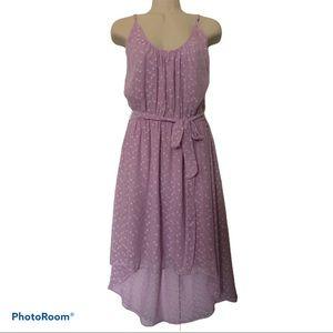 NWOT asymmetrical polka dot lilac dress
